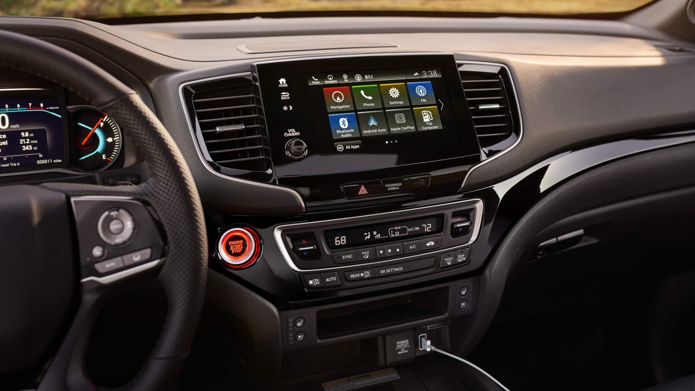 Sistema de audio en pantalla táctil en la Honda Passport Elite2020. Reproduce una animación.