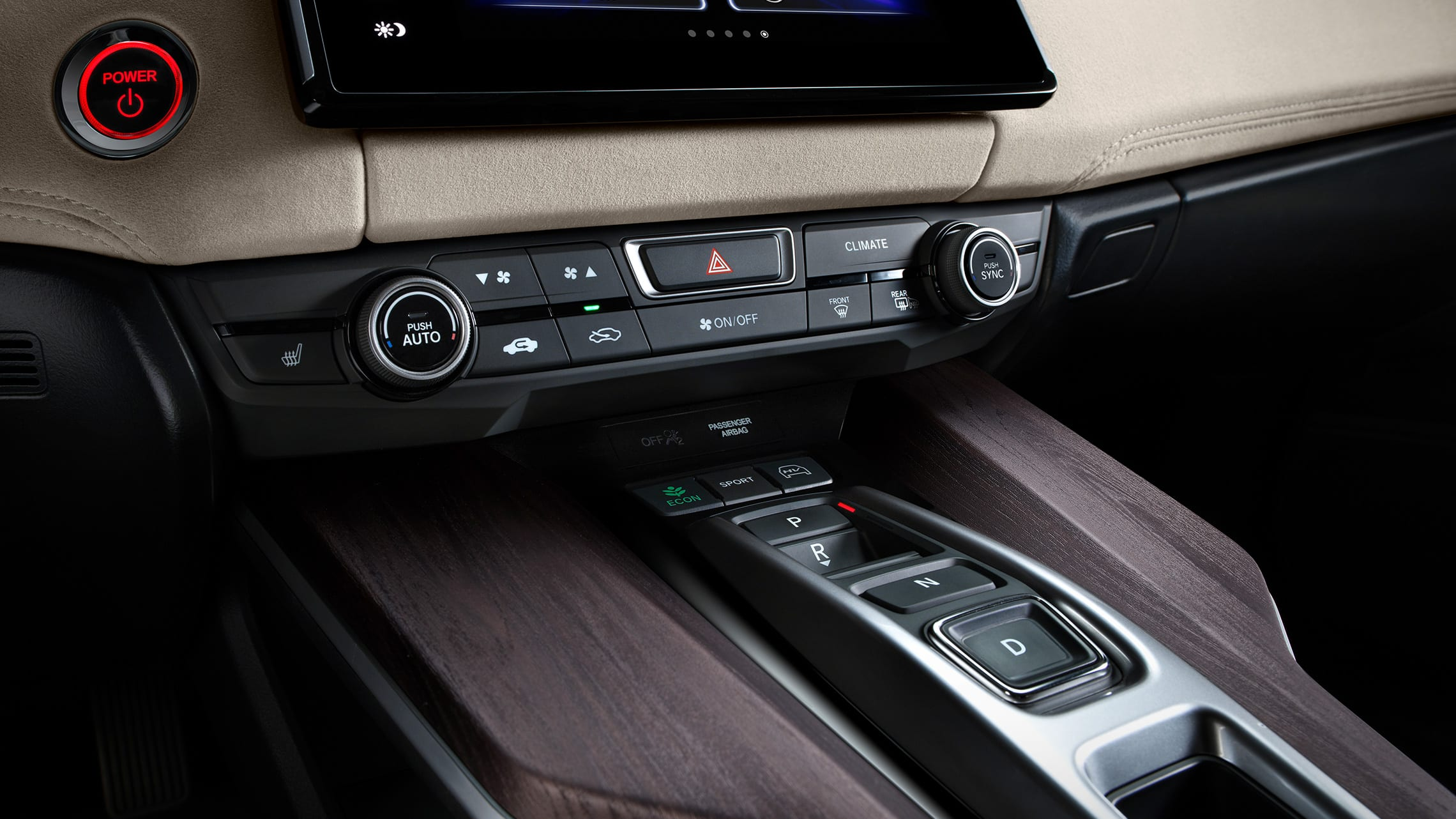 Detail of dual-zone automatic climate controls on center console.