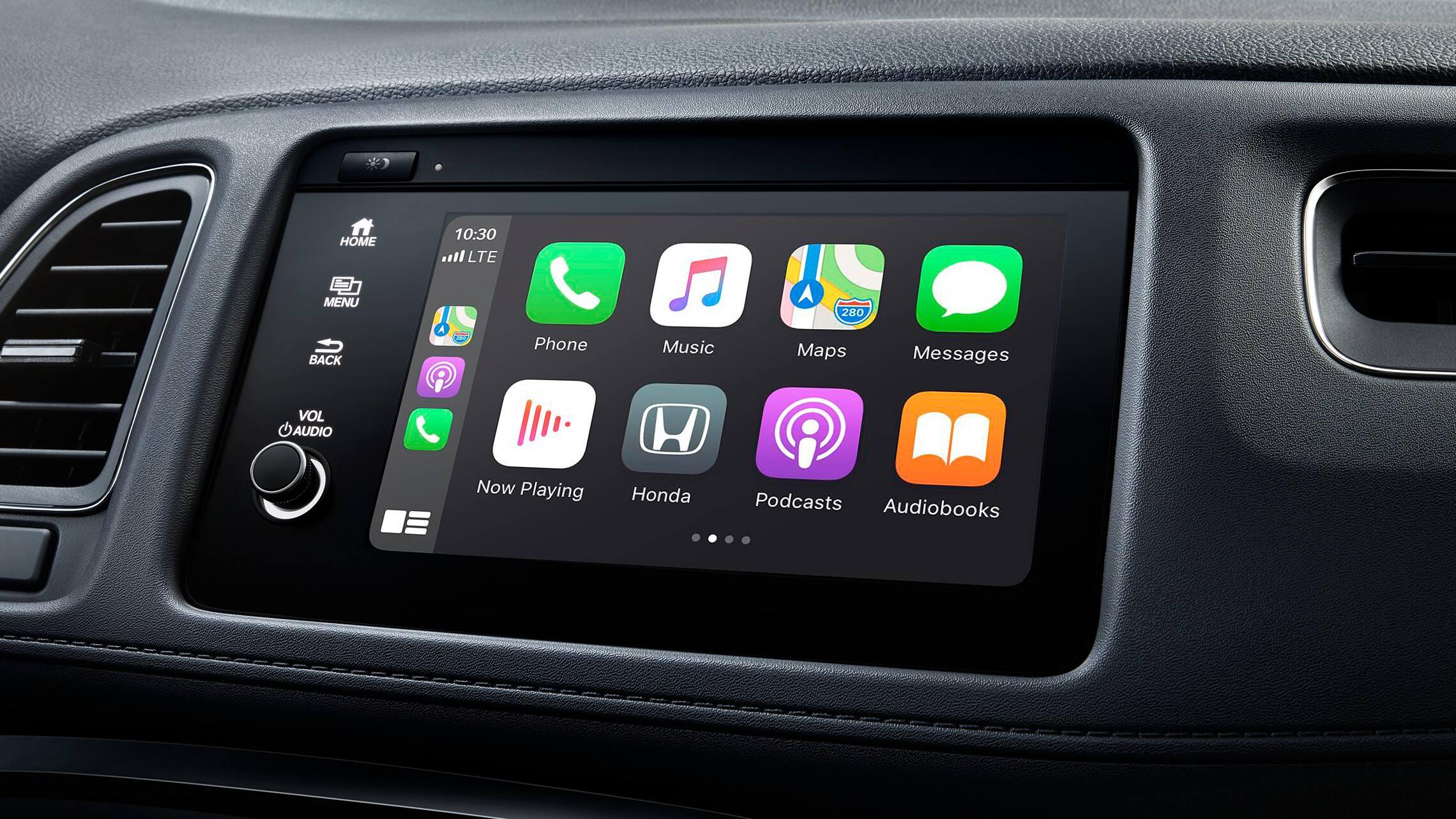 Detalle de Apple CarPlay® en el sistema de audio en pantalla táctil de la Honda HR-V Touring2020.