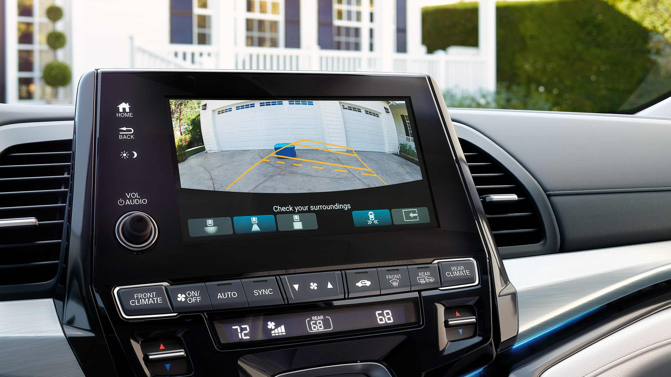 Multi-Angle rearview camera detail on 8-inch Display Audio Touch-Screen in 2020 Honda Odyssey Elite with Gray Leather.